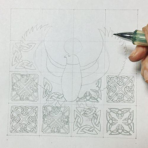 鳥 紋様色彩画 ケルト