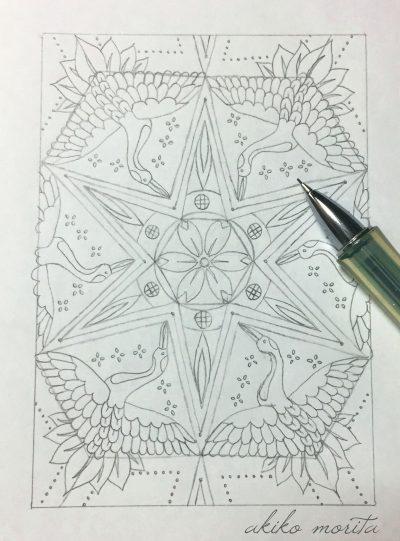 紋様色彩画 鶴