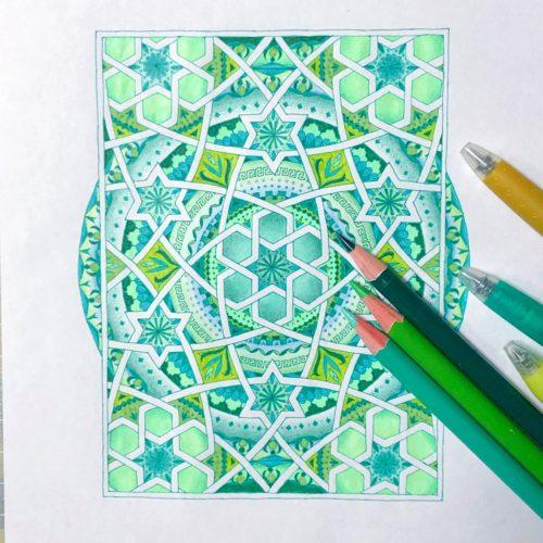 イスラム紋様 グリーン