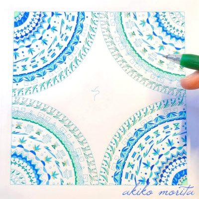 鶴2 紋様色彩画