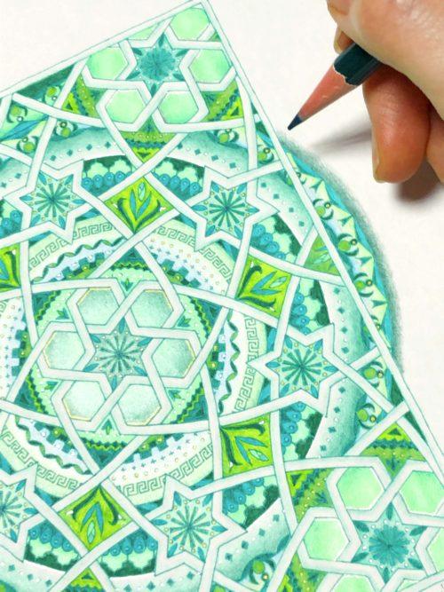 紋様色彩画 イスラム紋様 緑 グリーン