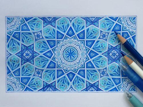 イスラム紋様 幾何学 紋様色彩画