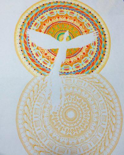 紋様色彩画 鳳凰